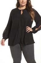 Melissa McCarthy Plus Size Women's Slit Sleeve Keyhole Blouse