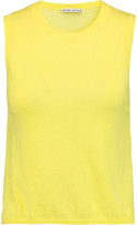 Alice + Olivia Finnigan stretch silk chiffon-paneled cotton and cashmere-blend tank