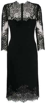 Ermanno Scervino Lace Panel Square Neck Dress