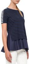 Akris Punto Short-Sleeve Mixed-Stripe Peplum Top, Navy/Cream