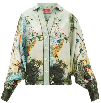 F.R.S For Restless Sleepers Anaideia Floral-print Hammered-silk Blouse - Womens - Light Blue