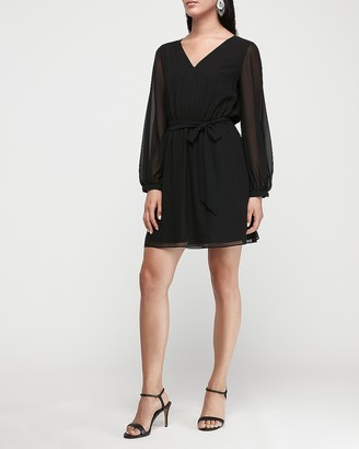 Express Chiffon Sleeve Sash Tie Fit And Flare Dress