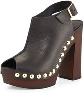 Charles David Ciao Studded Leather Sandal, Black