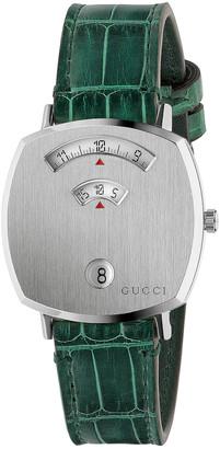 Gucci 157MD Watch in Green & Green Alligator   FWRD