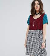 Glamorous Petite Mixed Plaid Mini Smock Dress