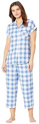 Lauren Ralph Lauren Rayon Twill Woven Dolman Sleeve His Shirt Capris Pajama Set (Blue Plaid) Women's Pajama Sets