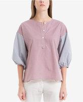 Max Studio London Cotton Plaid Contrast Shirt