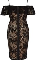 River Island Womens Black and nude lace bardot corset dress