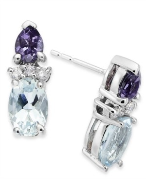 Macy's Multi-Gemstone (1-1/10 ct. t.w.) & Diamond Accent Drop Earrings in 14k White Gold