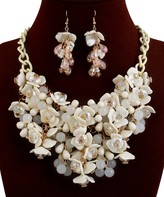 Ella & Elly Women's Earrings White - White Floral Beaded Statement Necklace & Drop Earrings