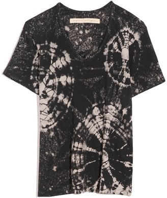 Raquel Allegra New V-Neck Tee in Black Constellation Tie Dye