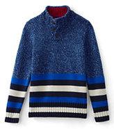 Classic Boys Husky Placed Stripe Button Mock Neck Sweater-Vibrant Blue Stripe