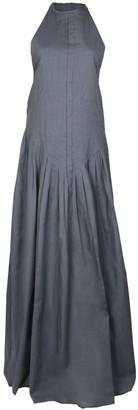 Maraina London Rain Black Pleated Dip-Hem Maxi Evening Dress