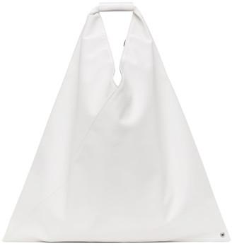 MM6 MAISON MARGIELA White Faux-Leather Medium Triangle Tote