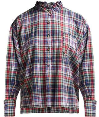 Etoile Isabel Marant Dresden Ruffle Collar Check Shirt - Womens - Green Multi