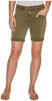 Liverpool Kylie Cargo Shorts with Flat Patch Pockets on Pigment Dyed Slub Stretch Twill in Olive Night Women's Shorts