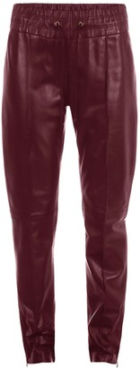 Ellesd Leather Joggers In Burgundy