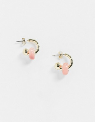 And other stories & small hoops with coral resin bead in gold