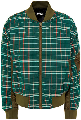 McQ Shell-paneled Checked Wool And Cotton-blend Bomber Jacket