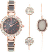 INC International Concepts Women's Rose Gold-Tone and Gray Acrylic Bracelet Watch & Bracelets Set 30mm, Only at Macy's