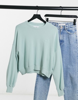 Hollister icon crew neck sweat in mint