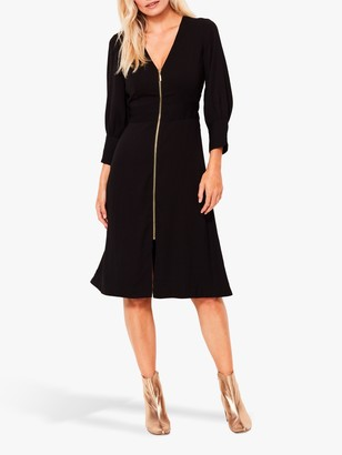 Sosandar Zip Front Fit And Flare Dress, Black