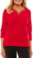 Alfred Dunner Talk Of The Town 3/4 Sleeve Split Crew Neck T-Shirt-Womens