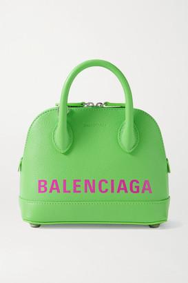 Balenciaga Ville Xxs Printed Textured-leather Tote - Green