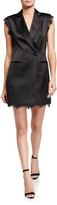 Jay Godfrey Gracie Sleeveless Satin Tux Dress with Lace Trim