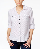 NY Collection Petite Printed Tab-Sleeve Dot-Print Blouse