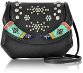 Roberto Cavalli Black Leather Mini Crossbody Bag w/Studs