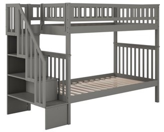 Atlantic Furniture Woodland Staircase Bunk Bed Twin over Twin in Grey