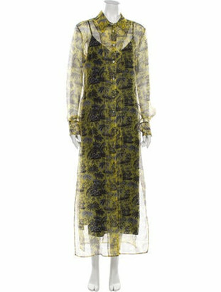 STAUD Printed Long Dress w/ Tags Yellow