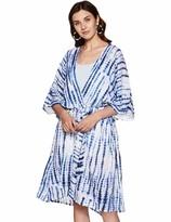 ANGLE THREADS Women's Viscose Kaftan Kemino Beach Wear Kaftant With Fabric Balt One Size BLUE TYEDYE