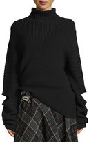 Public School Cutout Oversized Ribbed Sweater, Black