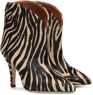 Paris Texas Zebra-print calf-hair ankle boots