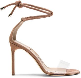Manolo Blahnik 105 Suede Estro Sandals in Rose Nude Suede | FWRD