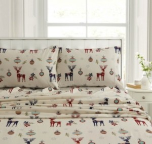 Tribeca Living Holiday Print Heavyweight Flannel Extra Deep Pocket Queen Sheet Set Bedding