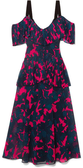 Jason Wu Collection - Cold-shoulder Pleated Floral-print Chiffon Midi Dress - Pink