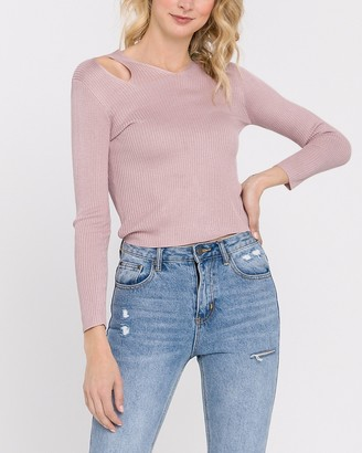Express Endless Rose Cut- Out Ribbed Knit Tee