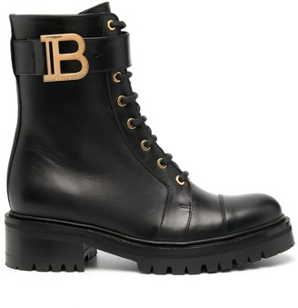 Balmain Logo-Plaque 45mm Ankle-Length Boots