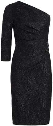 Teri Jon By Rickie Freeman One-Shoulder Beaded Sheath Dress