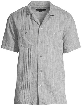 John Varvatos Benny E Guayabera Pleated Shirt