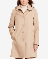 Lauren Ralph Lauren Hooded Single-Breasted A-Line Raincoat, Only at Macy's