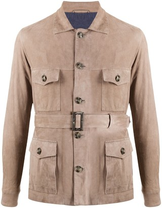 Barba Belted Shirt Jacket