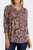 Jump 3/4 Sleeve Tile Print Top