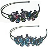 B.ella Set of 2 Butterfly Headbands Design of Two Butterflies Decorated with Sparkling Stones U86121-0234-2mb