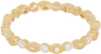 Marquis 14K Gold Plated Sterling Silver CZ Eternity Band Ring - Size 7