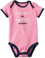 "Carter's Baby Girl Happy Me Happy Mommy"" Embroidered Graphic Bodysuit"