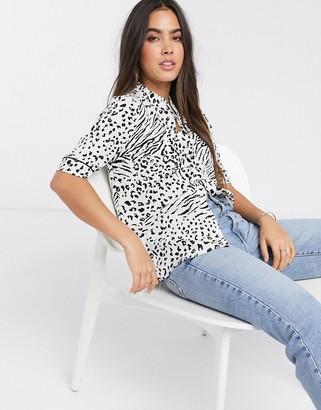 Ichi leopard print short sleeve shirt